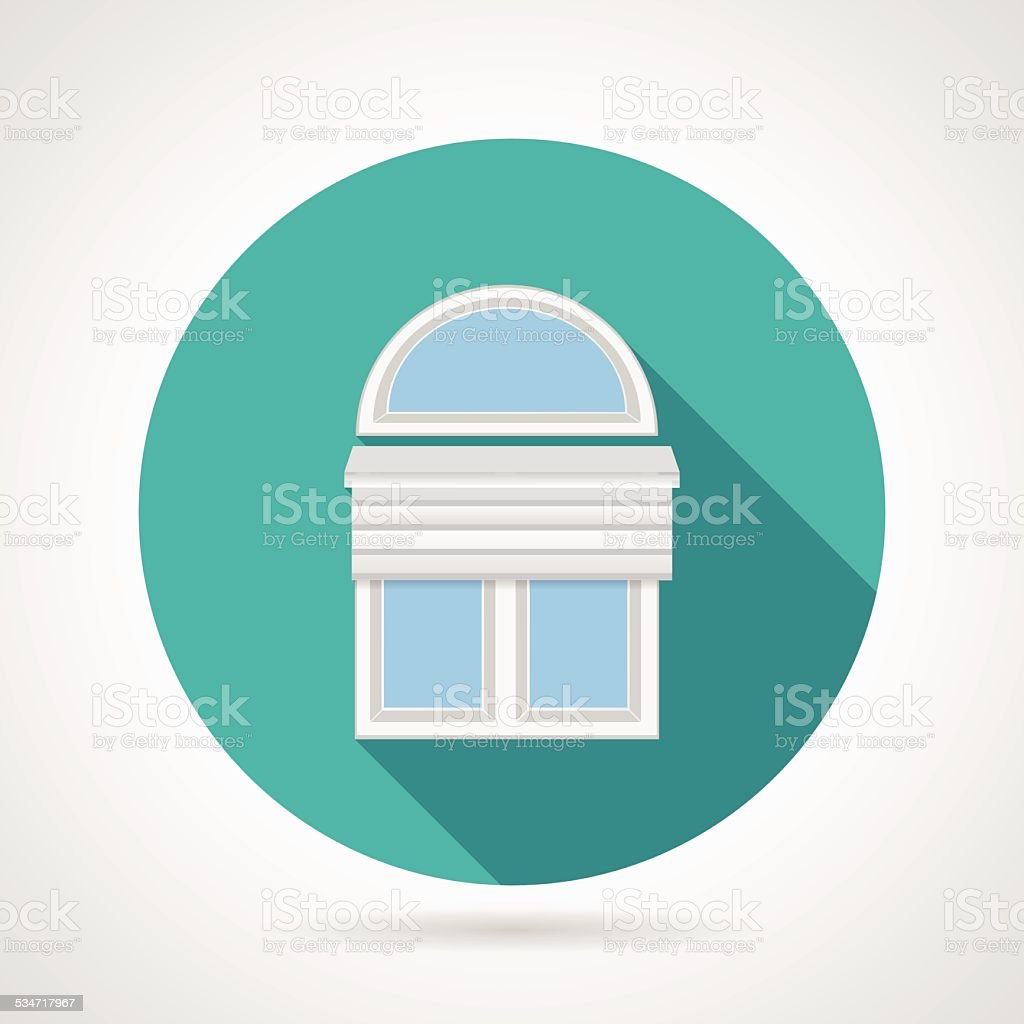 Flat vector icon for arch window with blinds vector art illustration