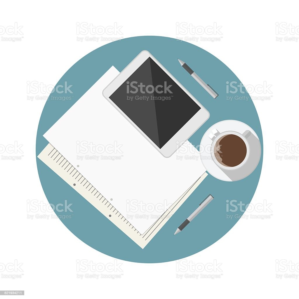 Flat vector icon for blogger work table vector art illustration