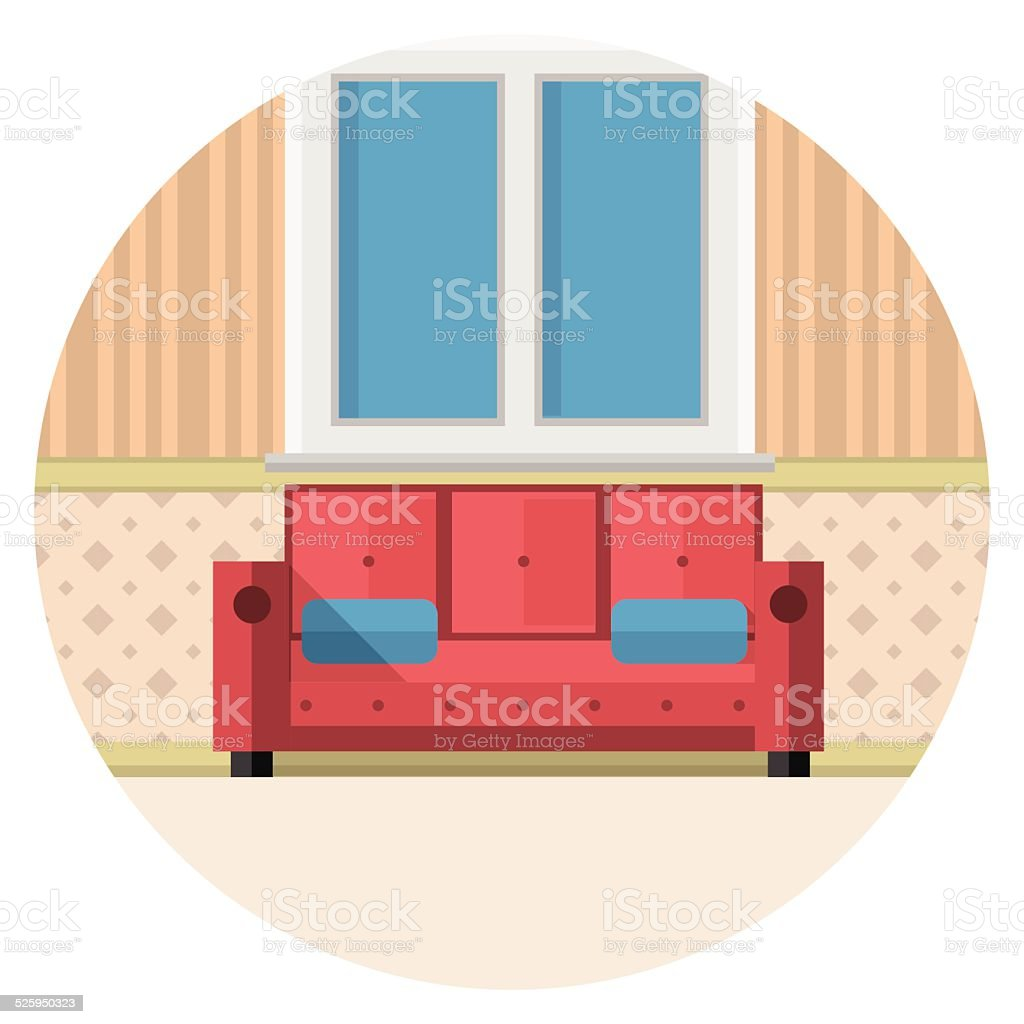 Flat vector icon for living room vector art illustration
