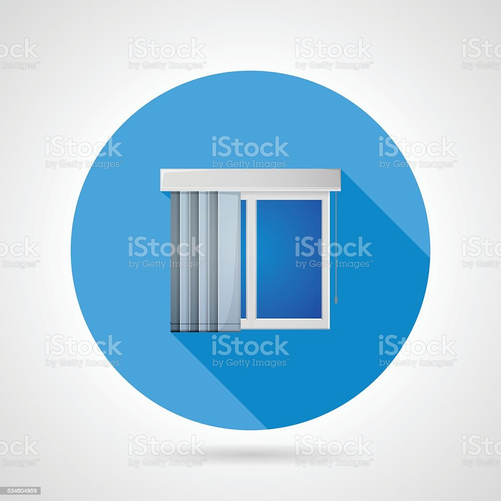 Flat vector icon for window with vertical louvers vector art illustration