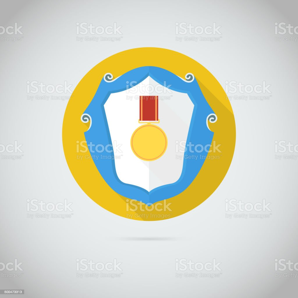 Flat vector icon with gold medal royalty-free stock vector art