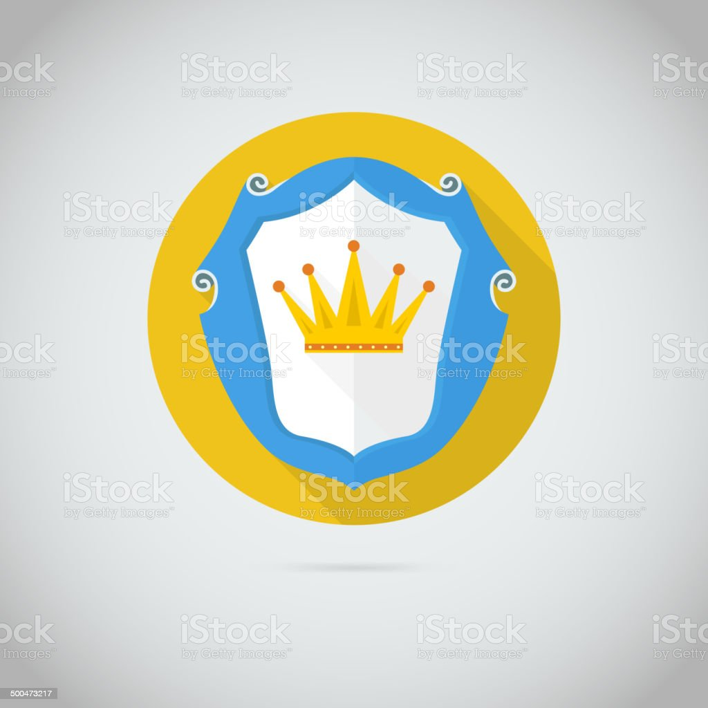 Flat vector icon with golden crown royalty-free stock vector art