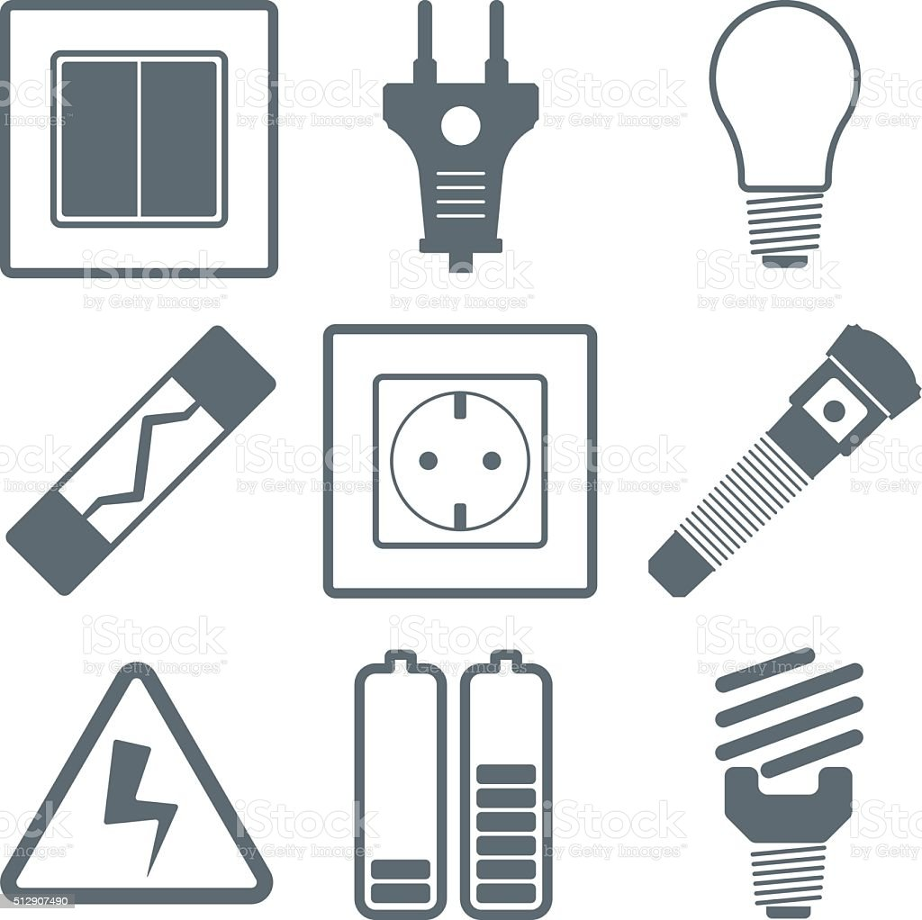 Flat vector icons electrical accessories vector art illustration