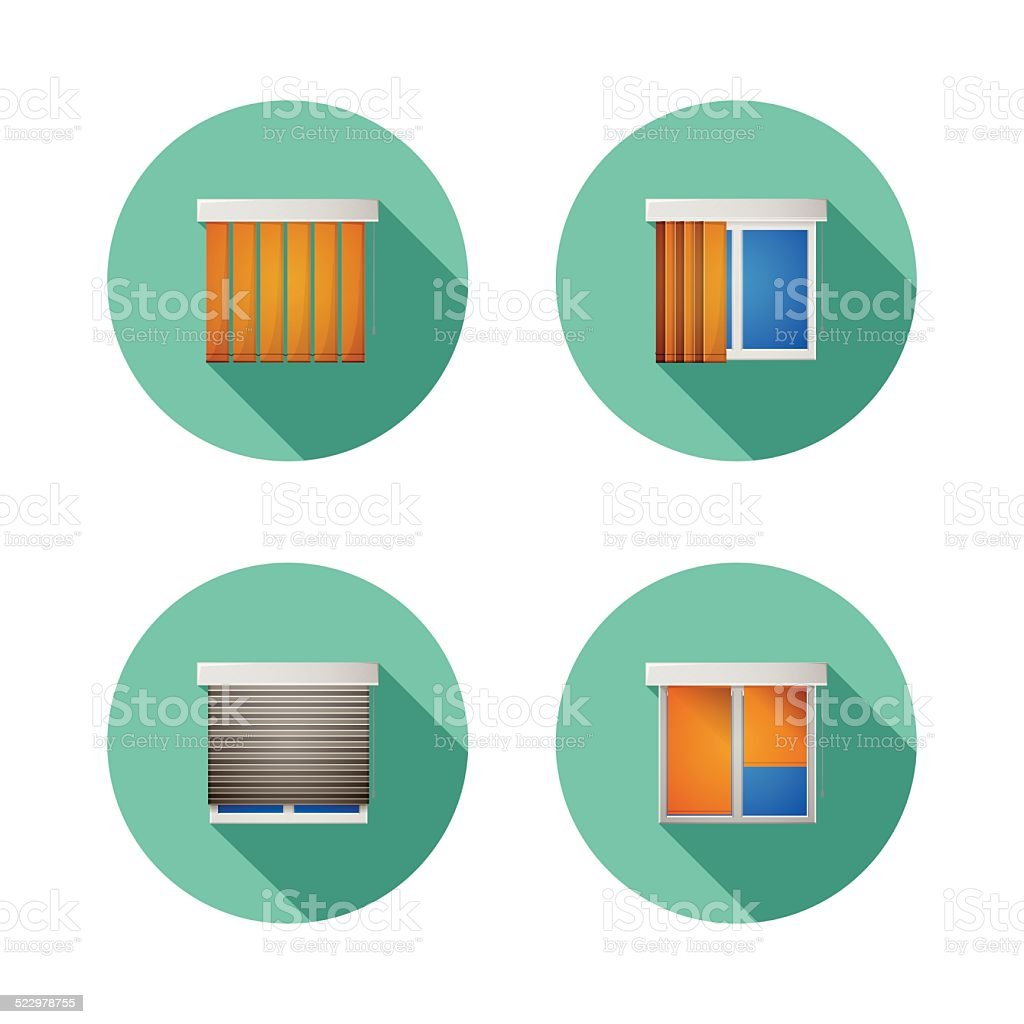 Flat vector icons for windows with louvers vector art illustration