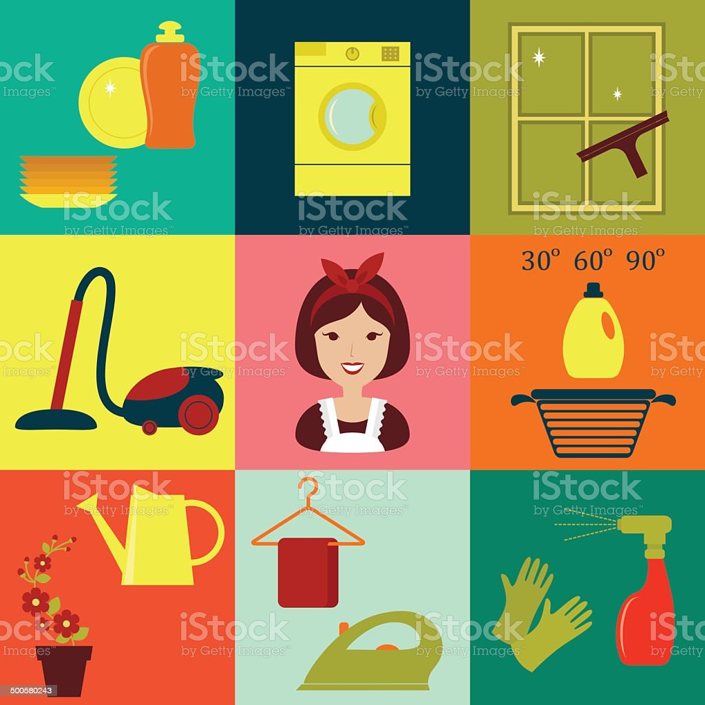 Flat vector icons of housekeeping vector art illustration