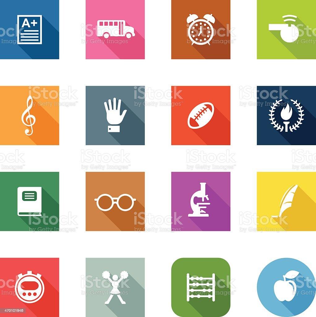 Flat vector icons relating to school vector art illustration