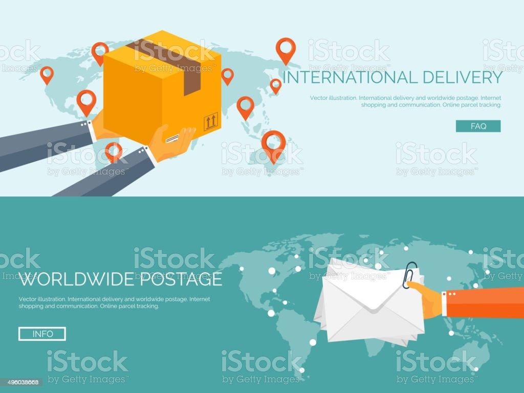 Flat vector illustration backgrounds set. International delivery and worldwide postage vector art illustration