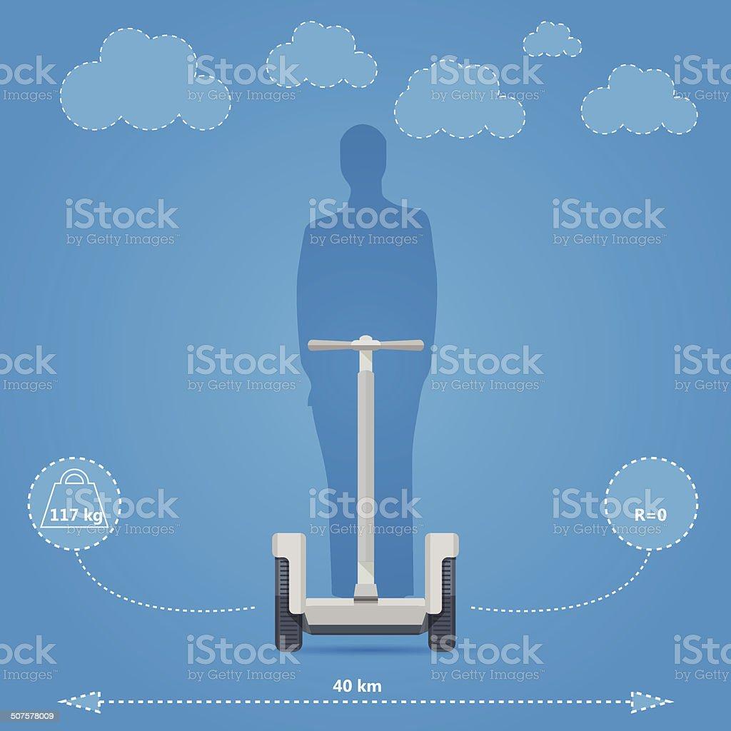 Flat vector illustration for technical characteristics of alternative personal transport vector art illustration