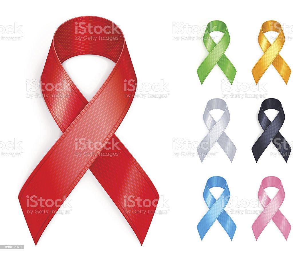 Flat vector illustration of colored awareness ribbons vector art illustration