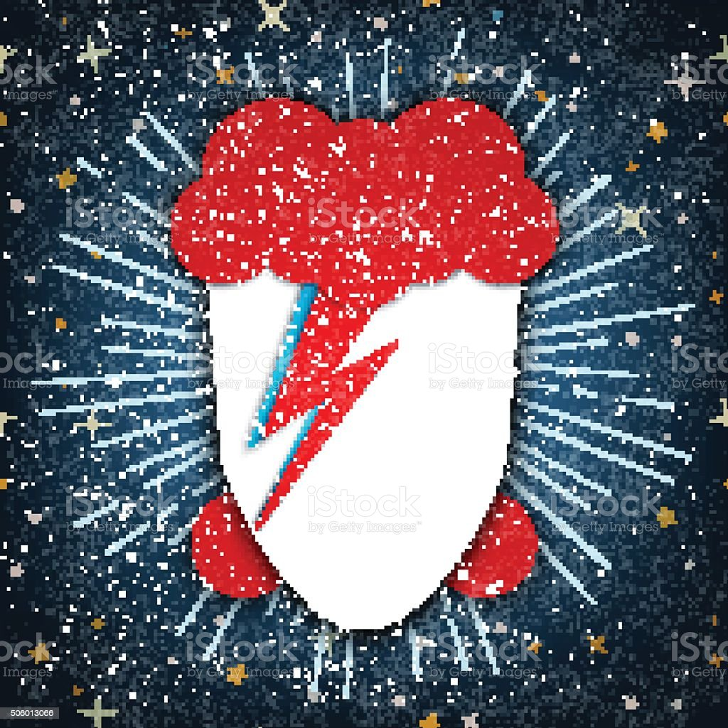 USA, JANUARY 18, 2016: Flat vector Illustration of David Bowie vector art illustration