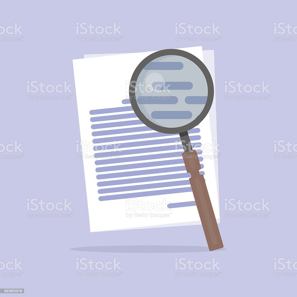 Flat Vector illustration of document Search icon vector art illustration