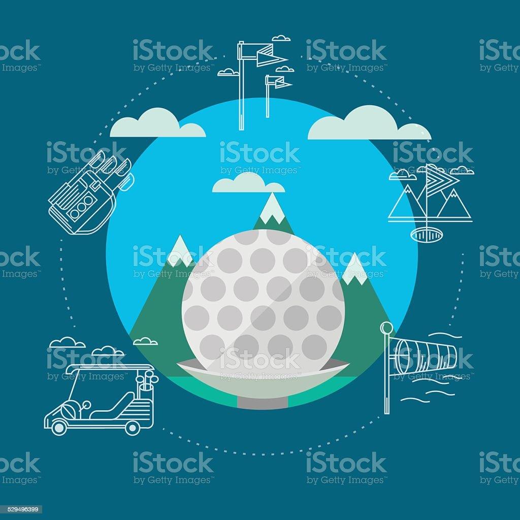 Flat vector illustration of golf vector art illustration