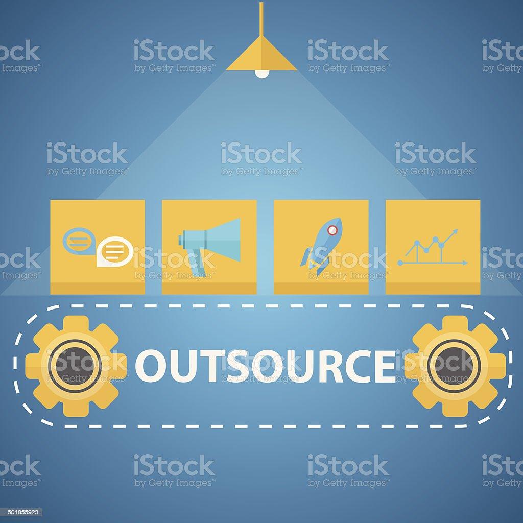Flat vector illustration of outsourced mechanism vector art illustration