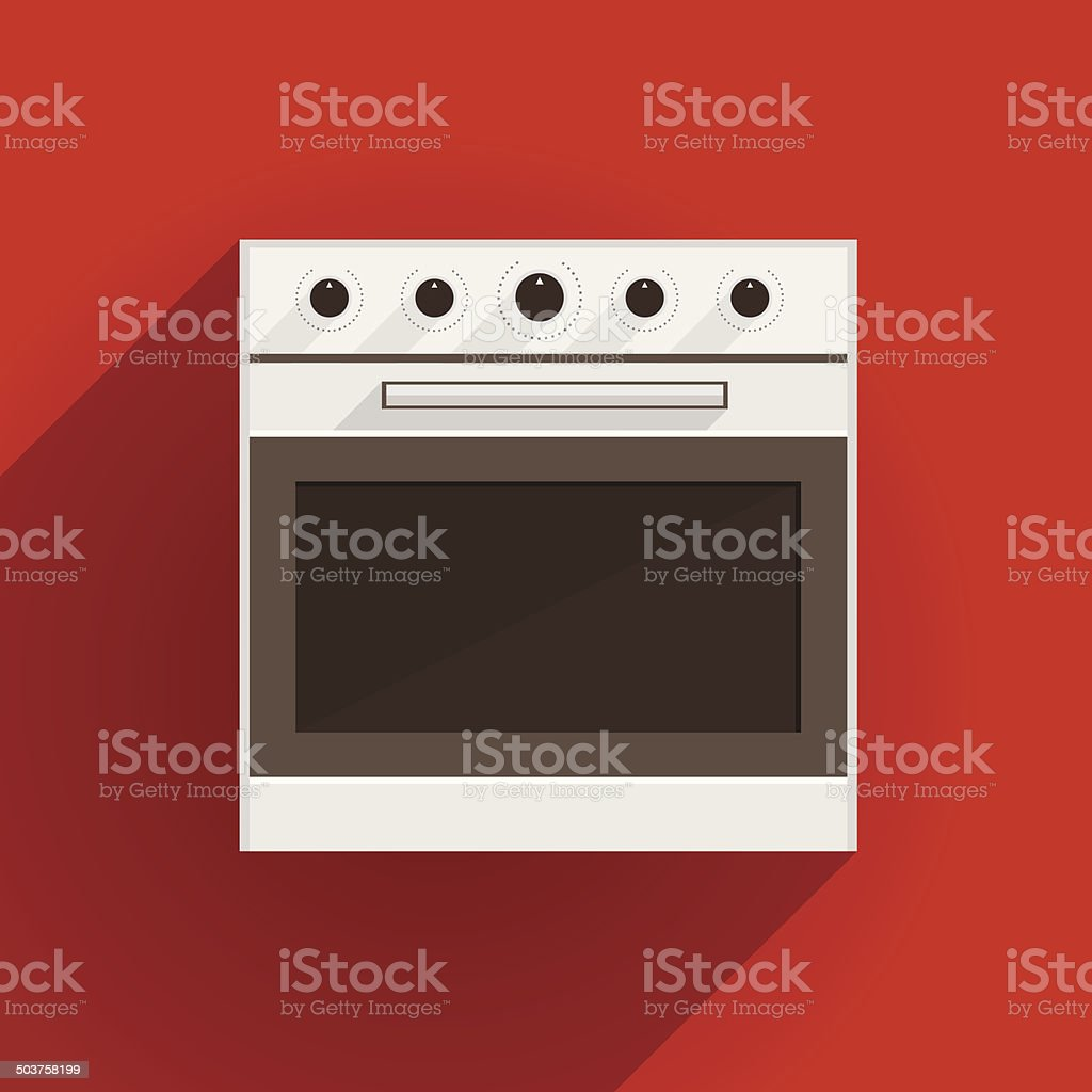 Flat vector illustration of oven vector art illustration