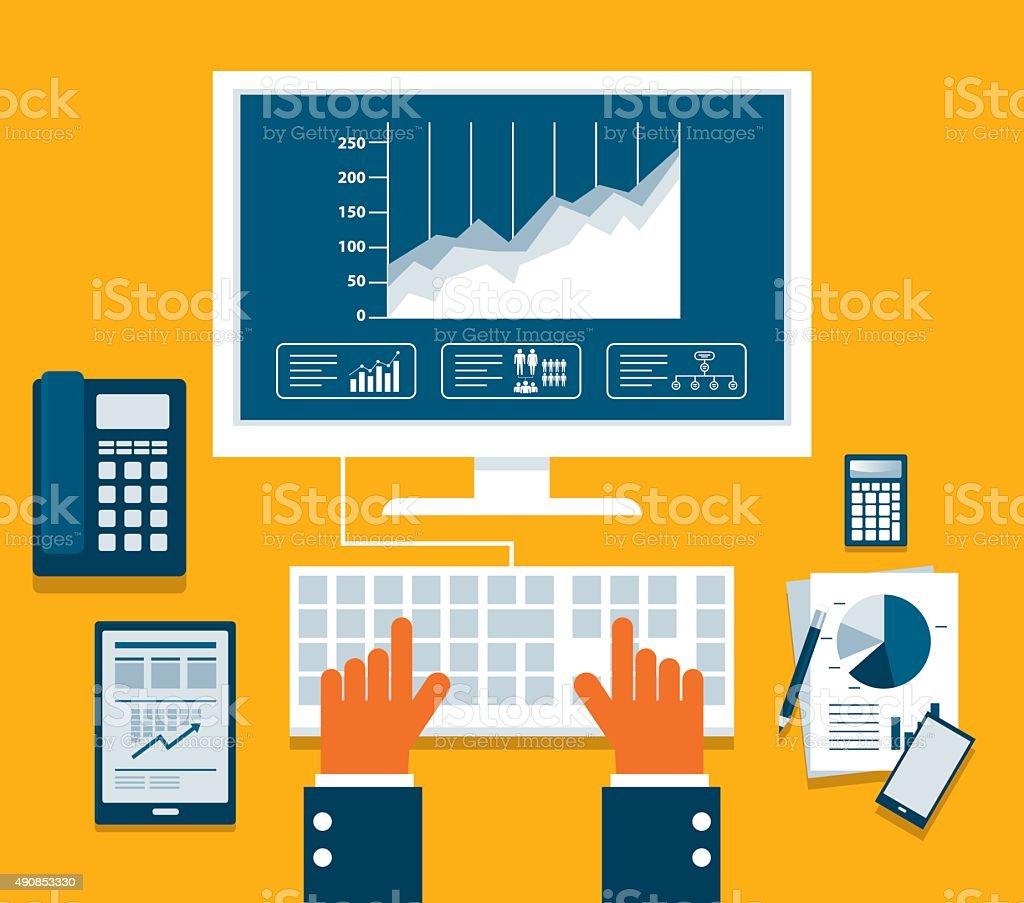 Flat vector illustration of web and application vector art illustration