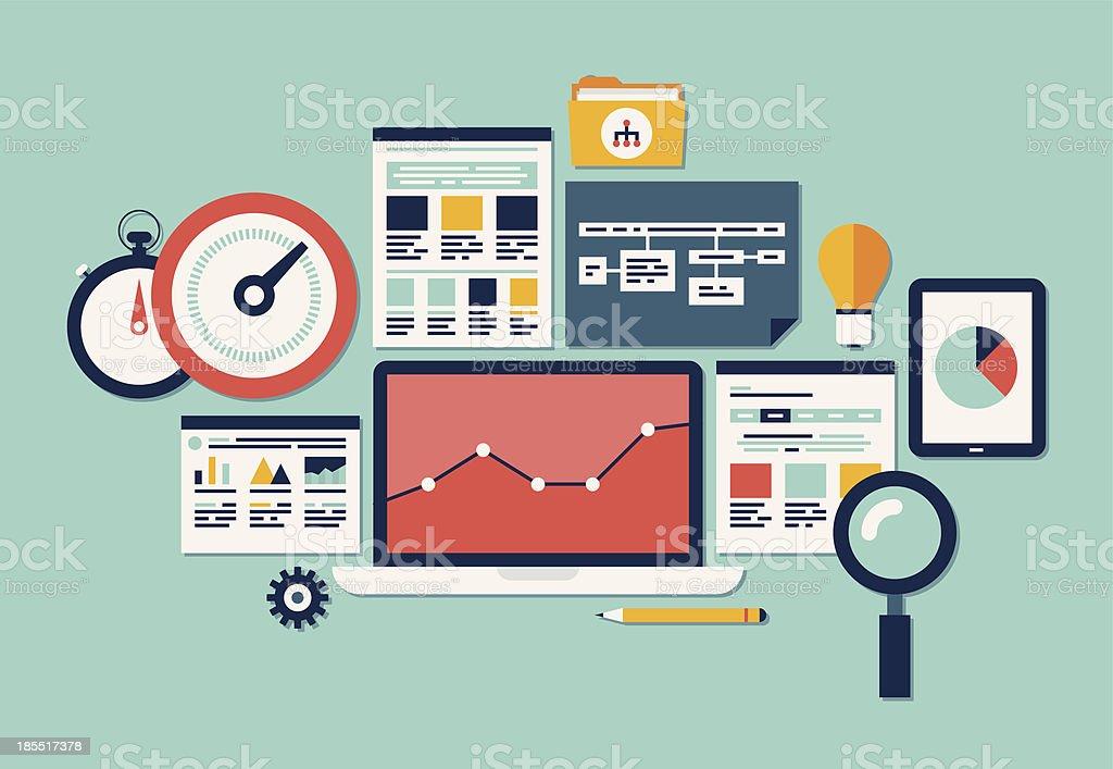 Flat vector illustration of website SEO icon set royalty-free stock vector art