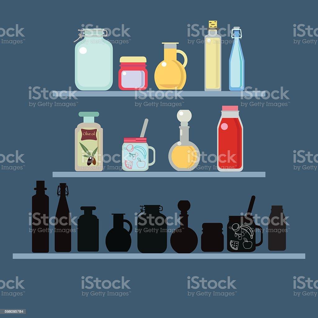 Flat vector illustration set of different shape jars and bottle vector art illustration