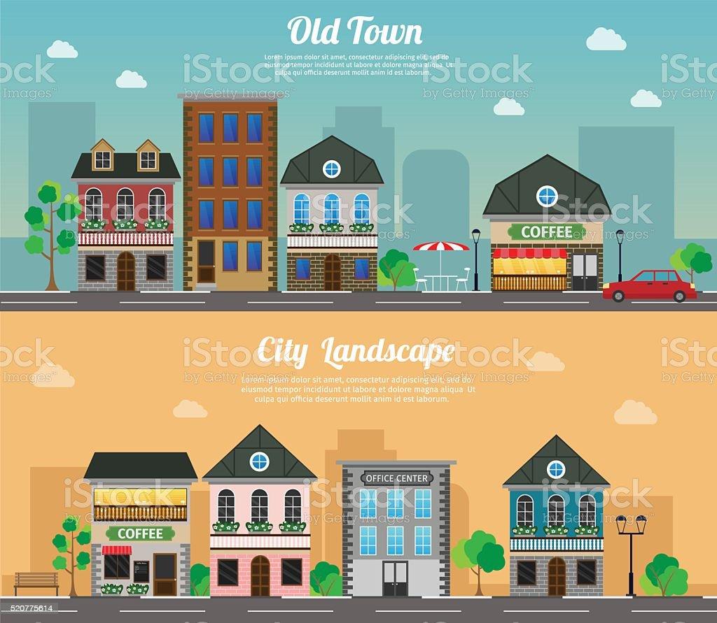 Flat vector illustration stock building set objects vector art illustration