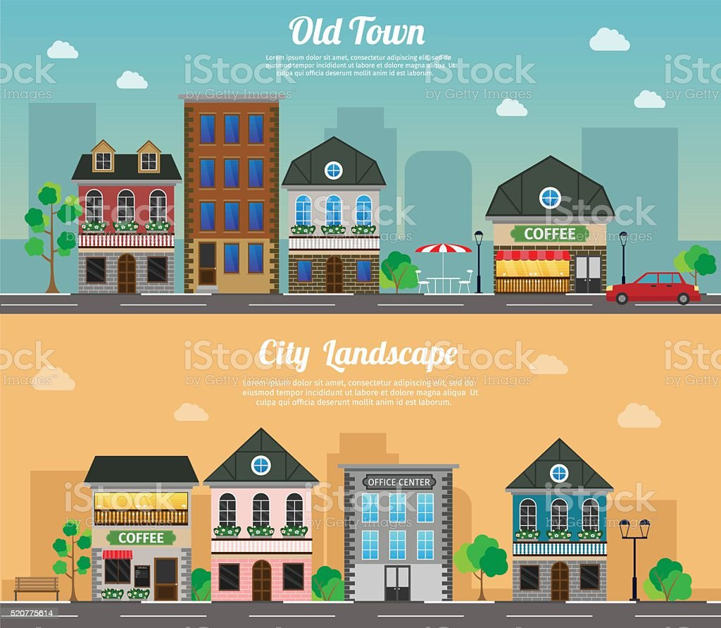 Flat vector illustration stock building set objects vector art illustration