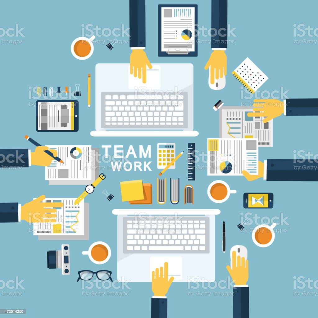 Flat vector imaging about Team Work on a blue background vector art illustration