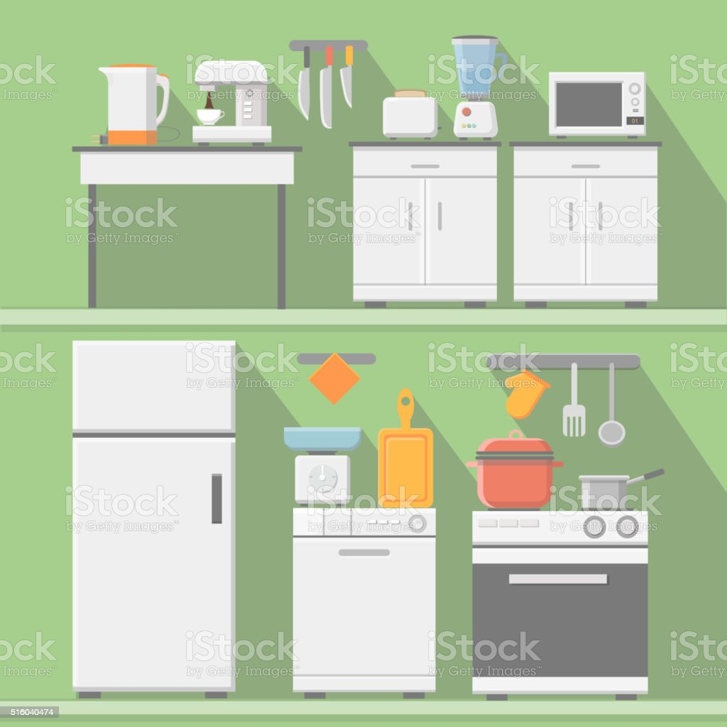 Flat vector kitchen with cooking tools, equipment. vector art illustration