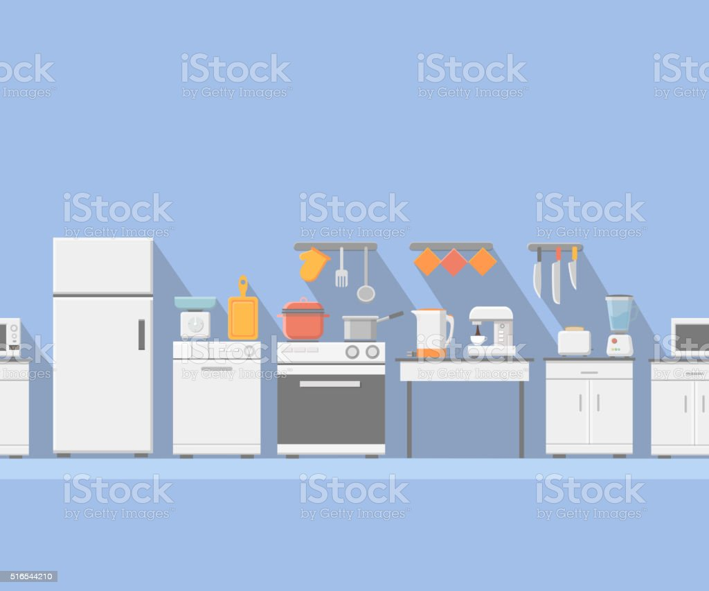 Flat vector kitchen with cooking tools seamless horizontal vector art illustration