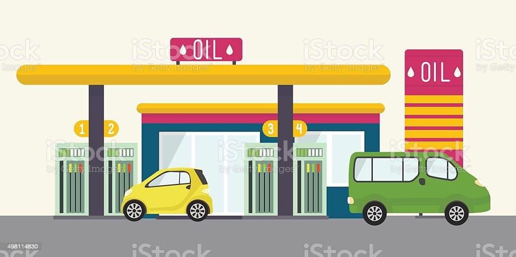 Flat vector landscape, gas station, oil, car, cafe vector art illustration