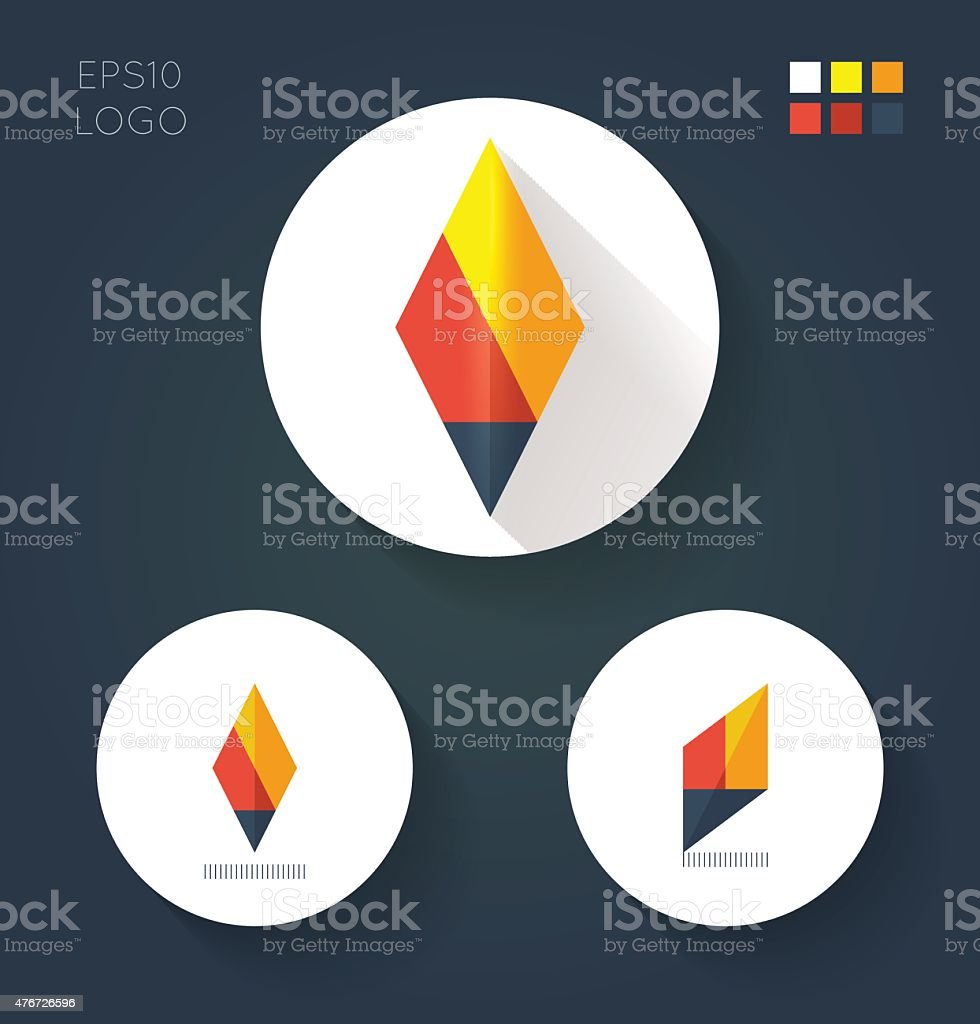 flat vector logo for fire torch vector art illustration