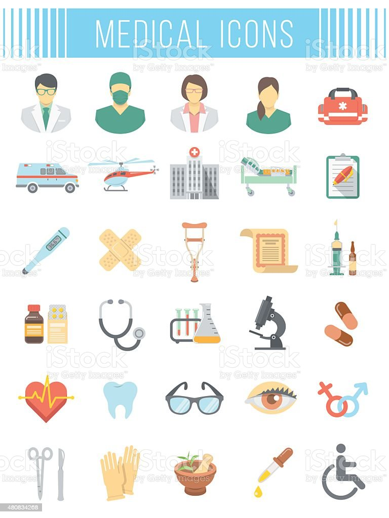 Flat vector medical and healthcare icons vector art illustration