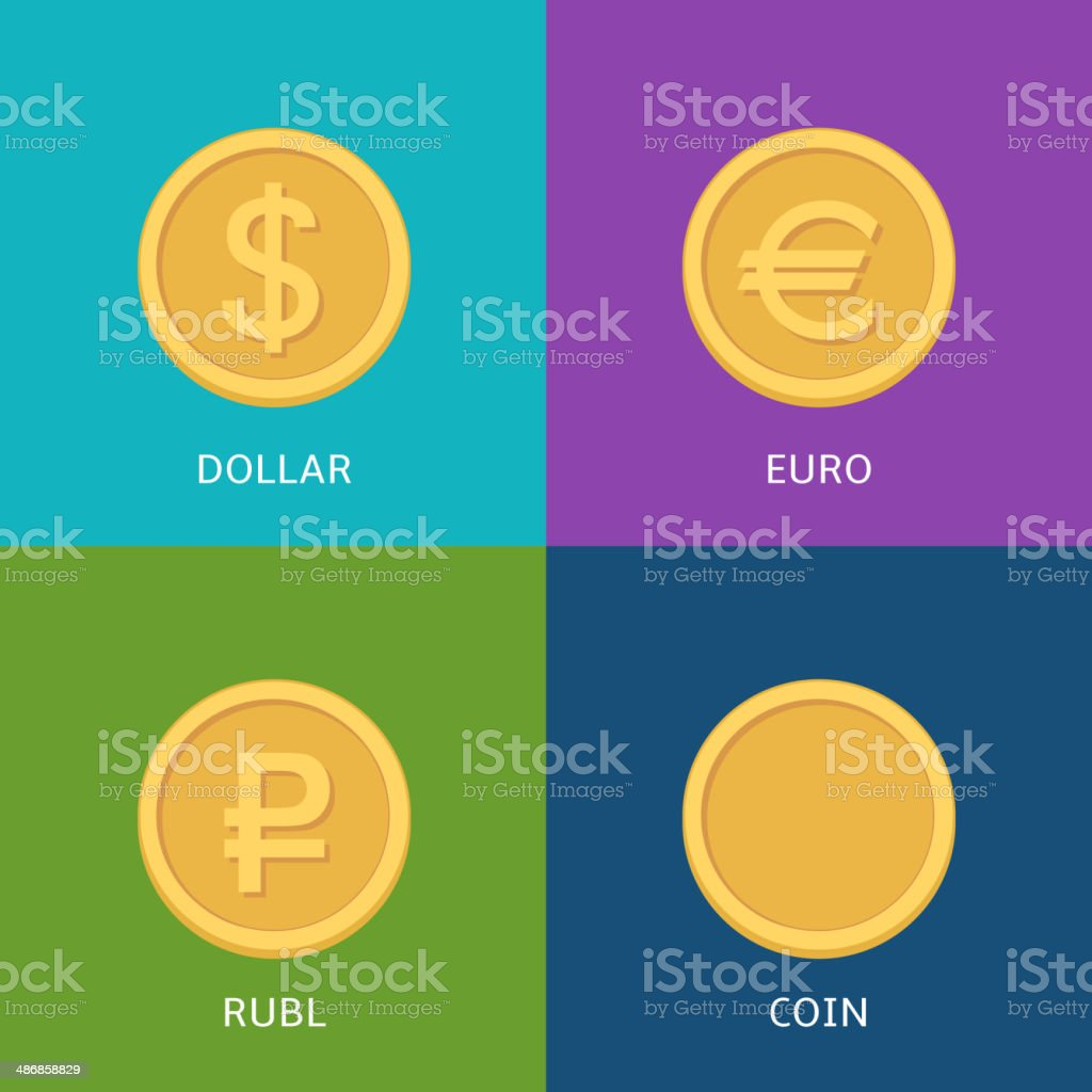 Flat vector money icons vector art illustration