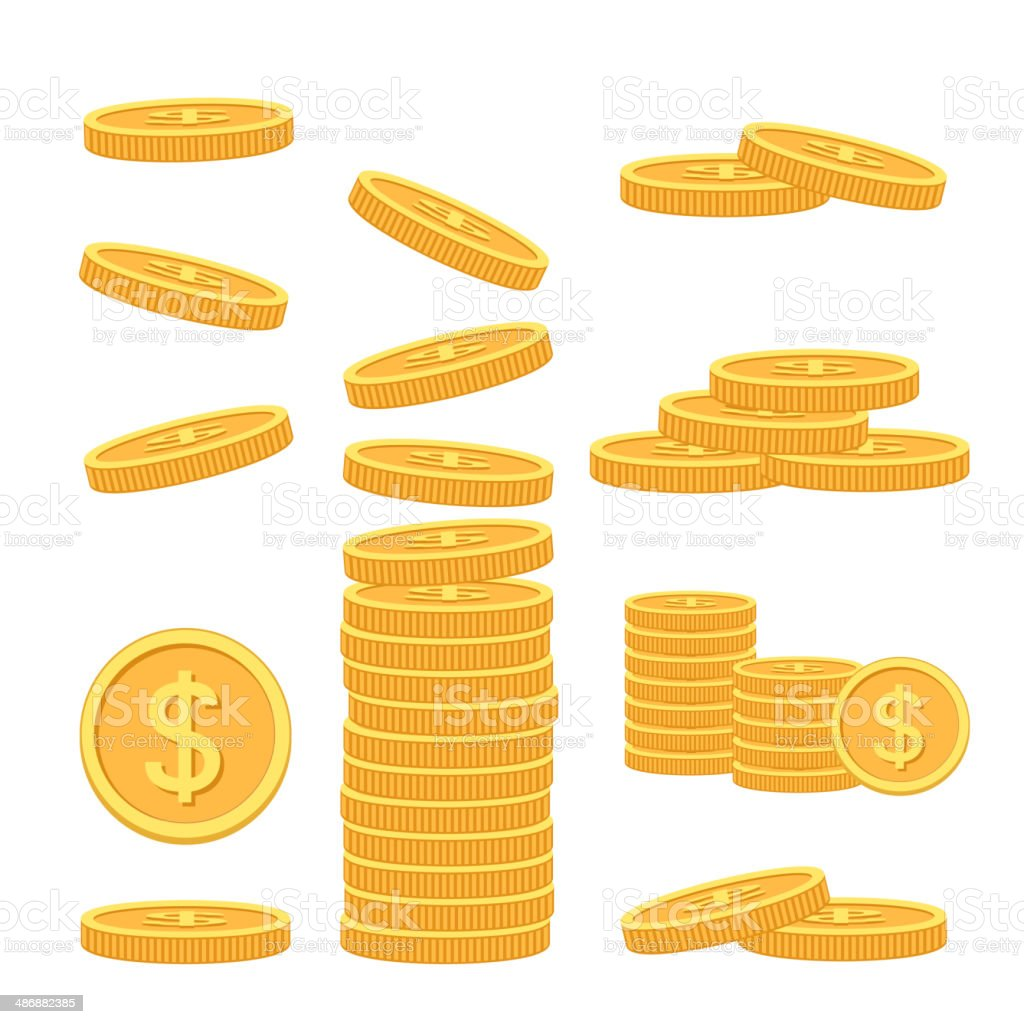 Flat vector money icons vector art illustration