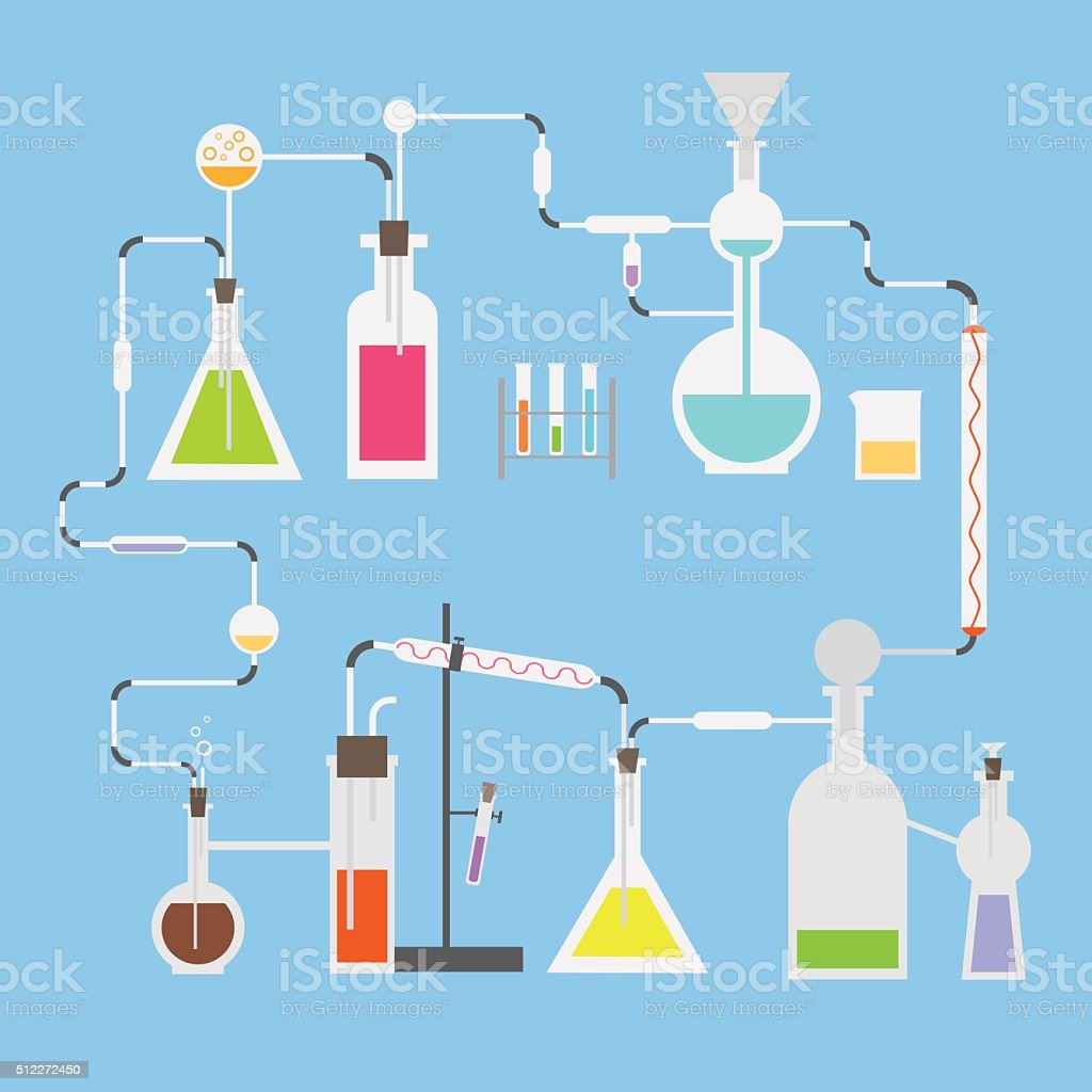 Flat vector science laboratory  tubes vector art illustration
