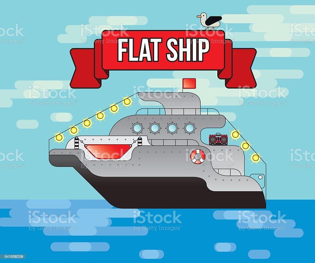flat vector ship, Sea transport, illustration, cruise transports tourists,Tourism royalty-free stock vector art