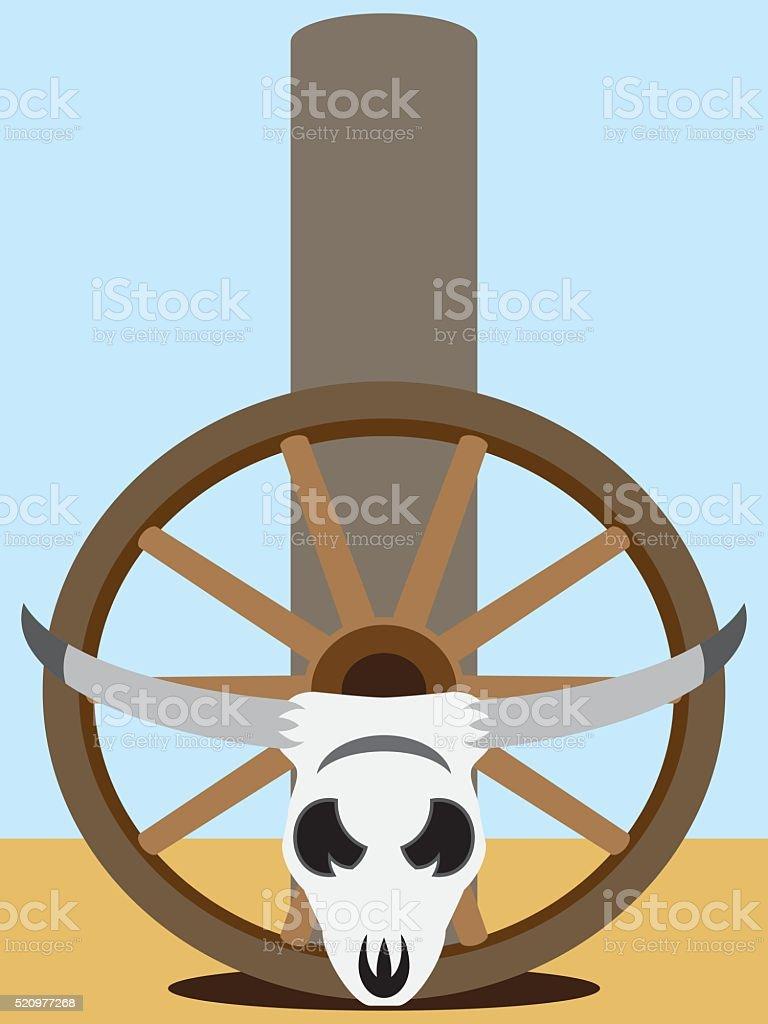 Flat Vector Steer Skull vector art illustration