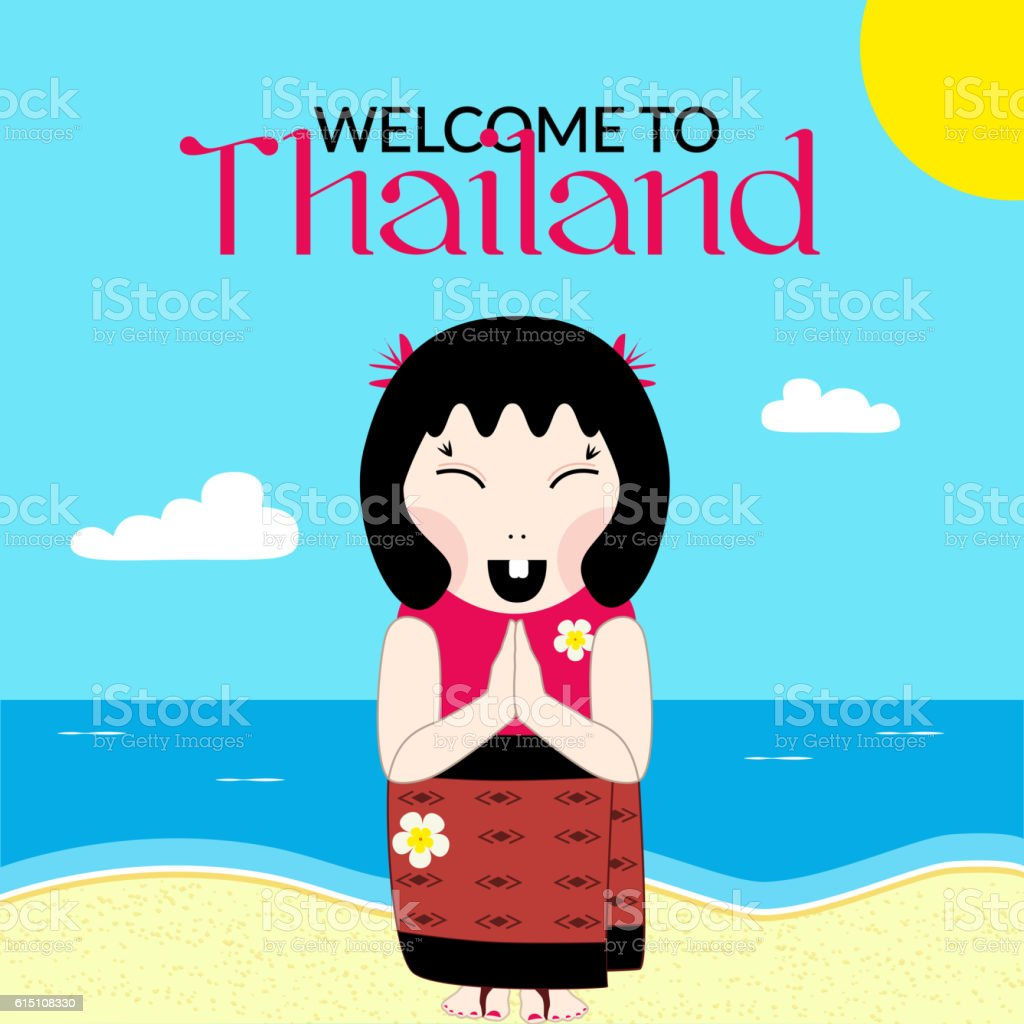 Flat vector thai woman with namaste welcome thailand vector art illustration