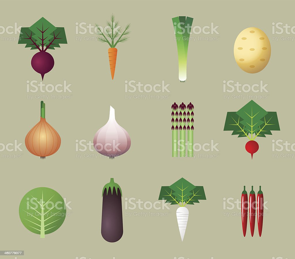 Flat vegetable icons vector art illustration