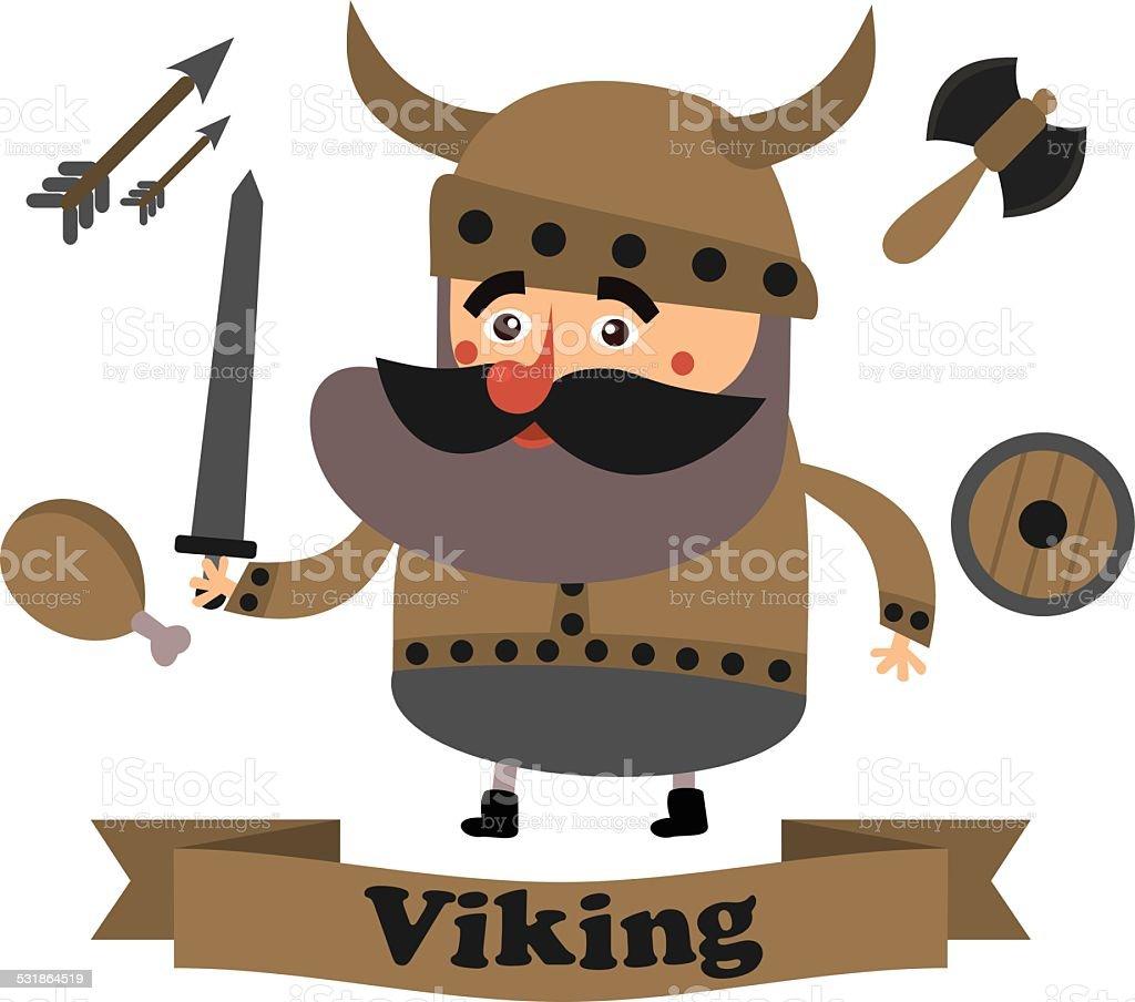flat viking vector art illustration