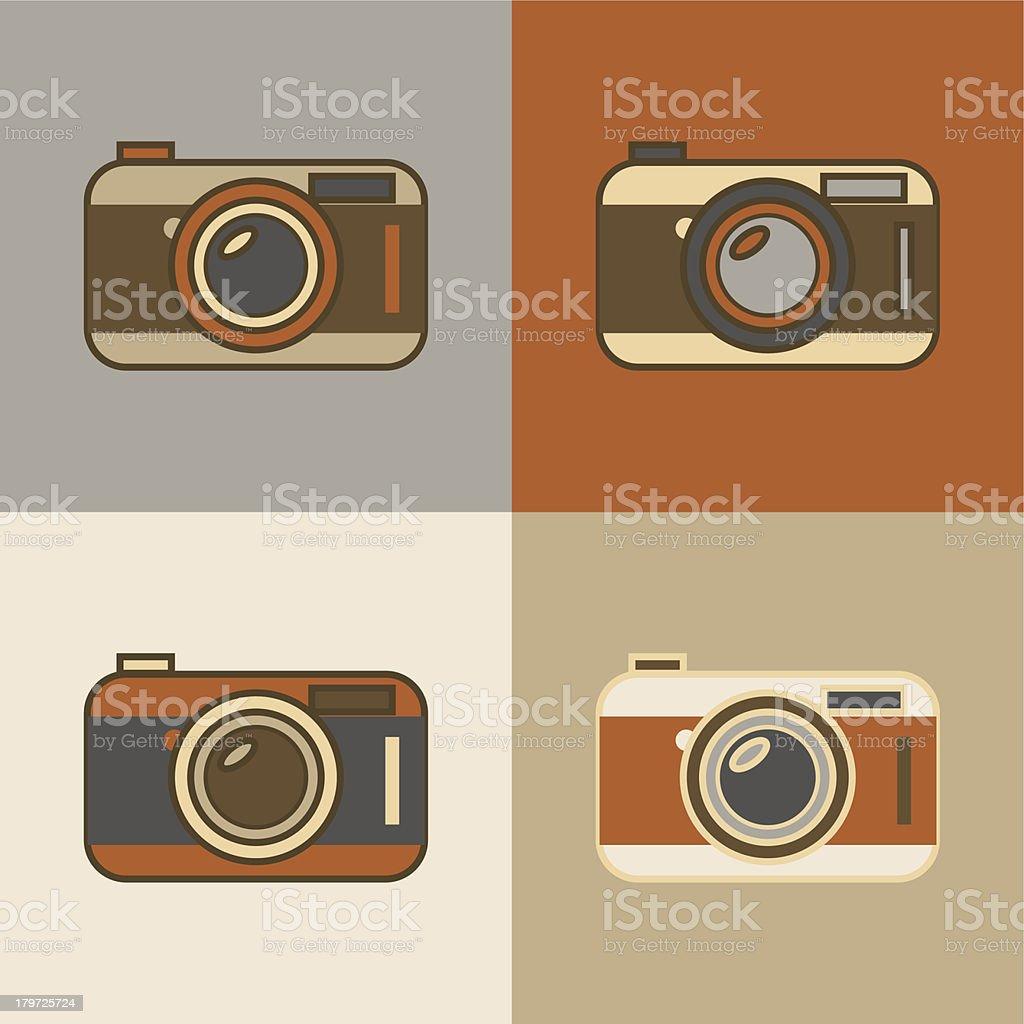 Flat vintage camera icons royalty-free stock vector art