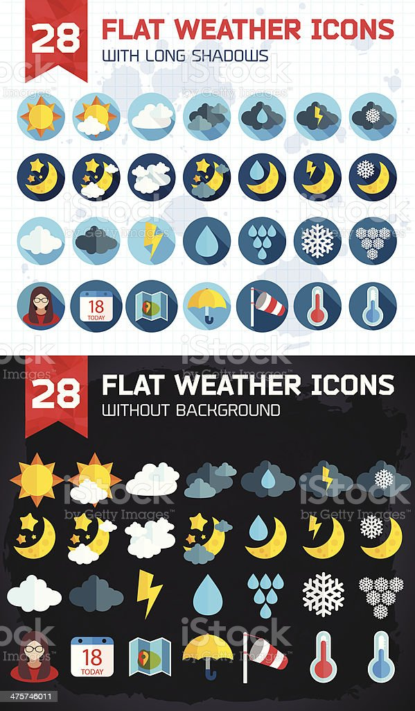 Flat weather icons set royalty-free stock vector art
