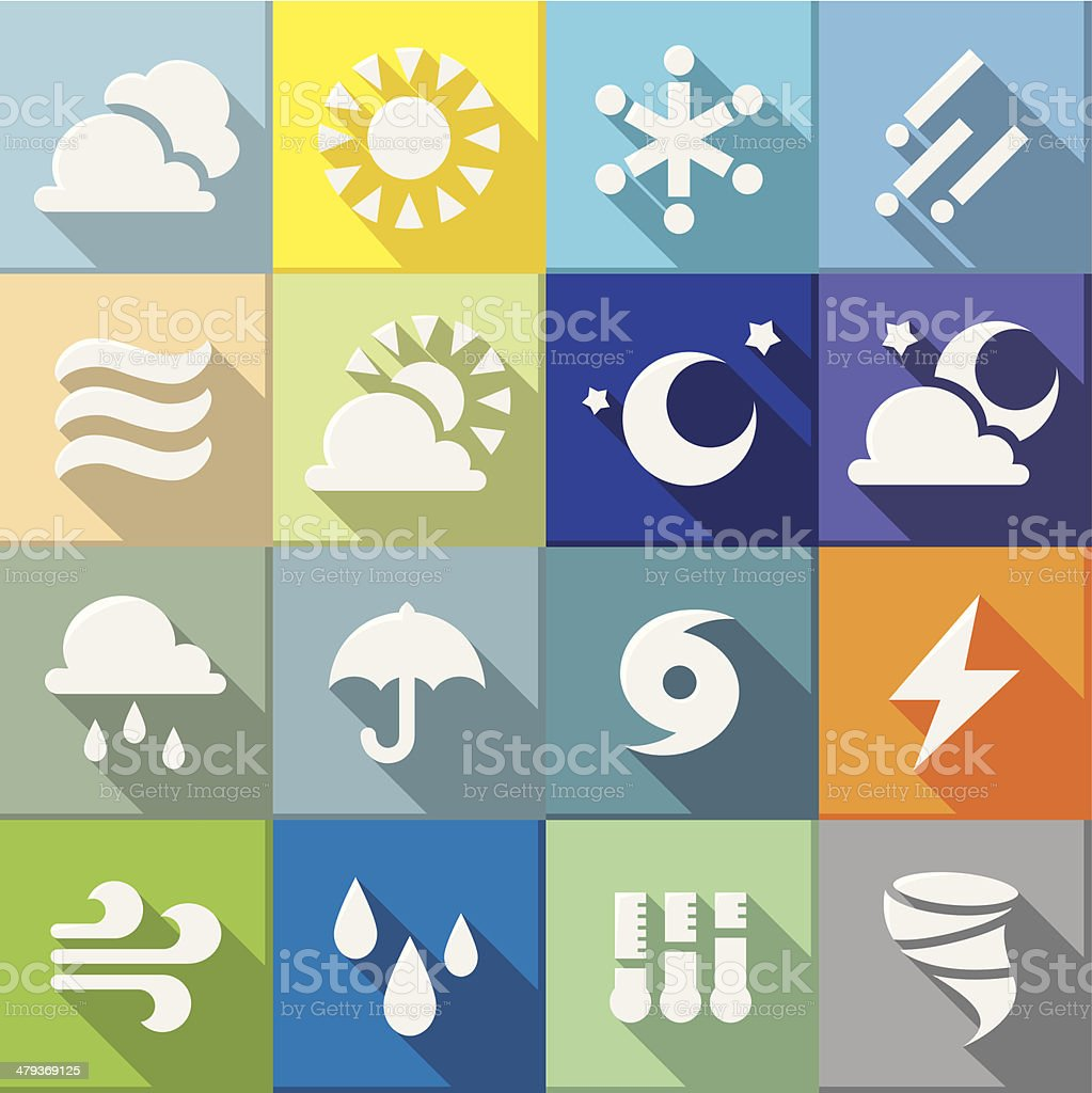 Flat Weather Icons vector art illustration