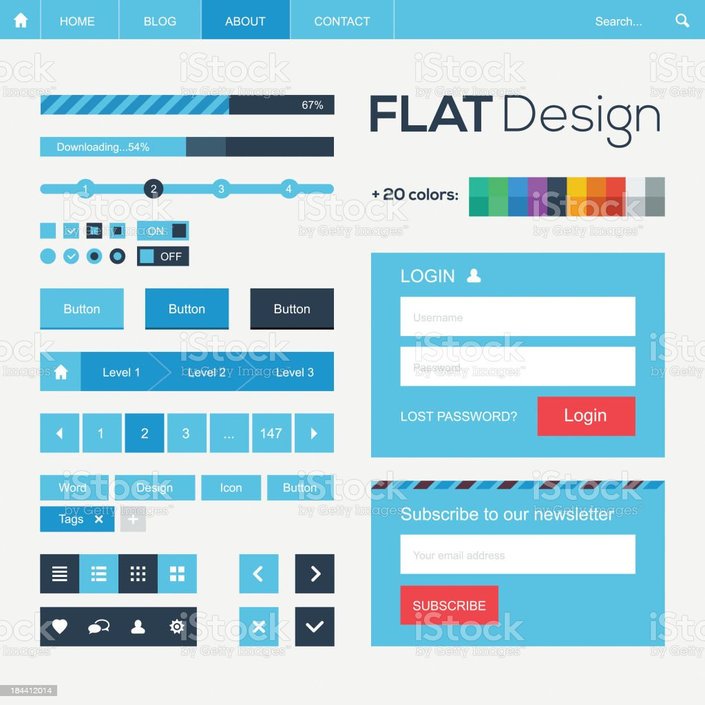 Flat web and mobile design elements, buttons, icons. Website template. royalty-free stock vector art