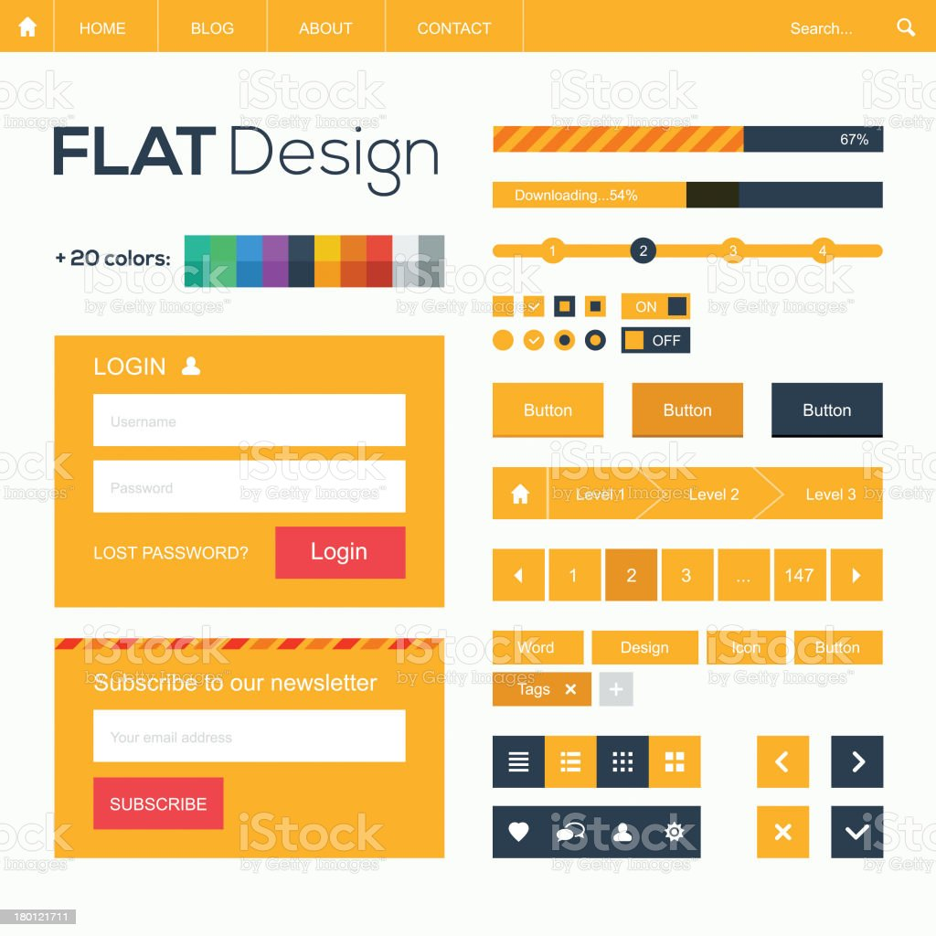 Flat web design template and icons vector art illustration