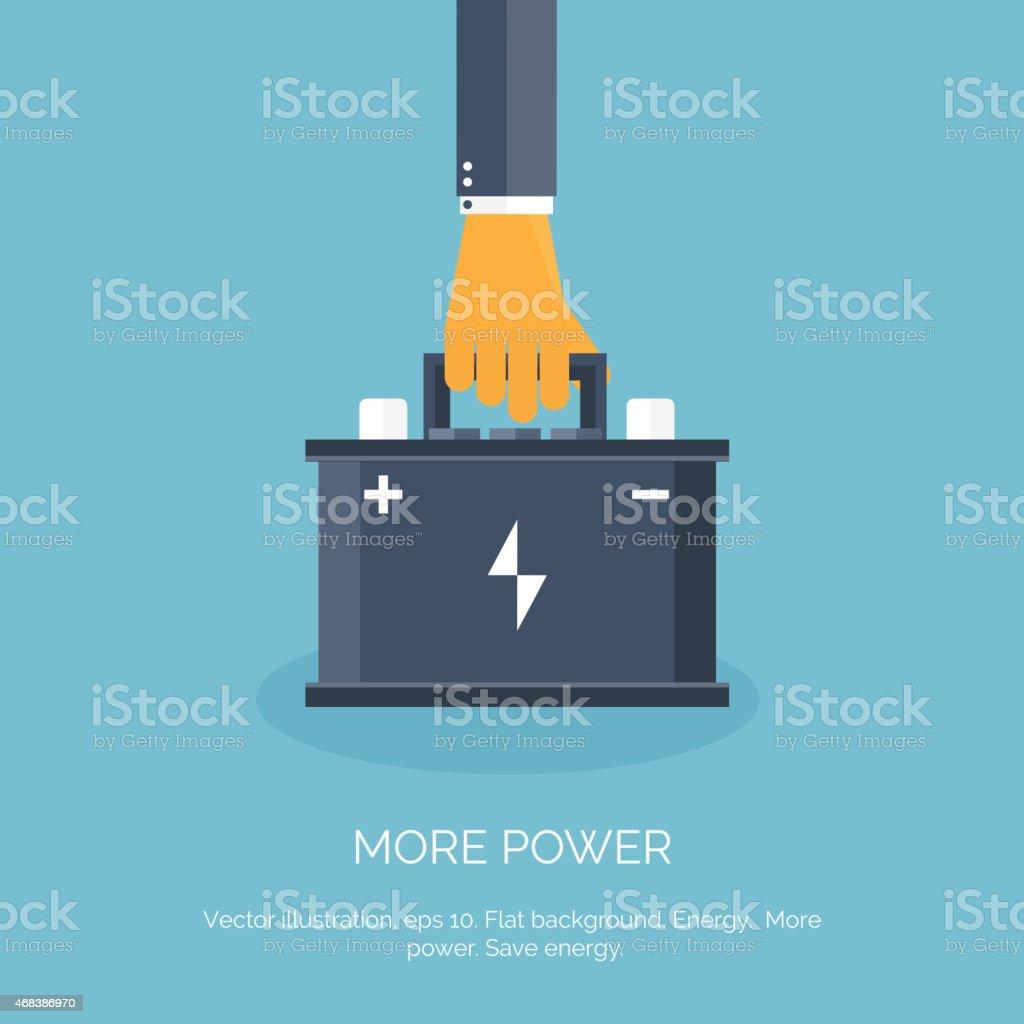 Flat web icon. Battery, accumulator vector art illustration