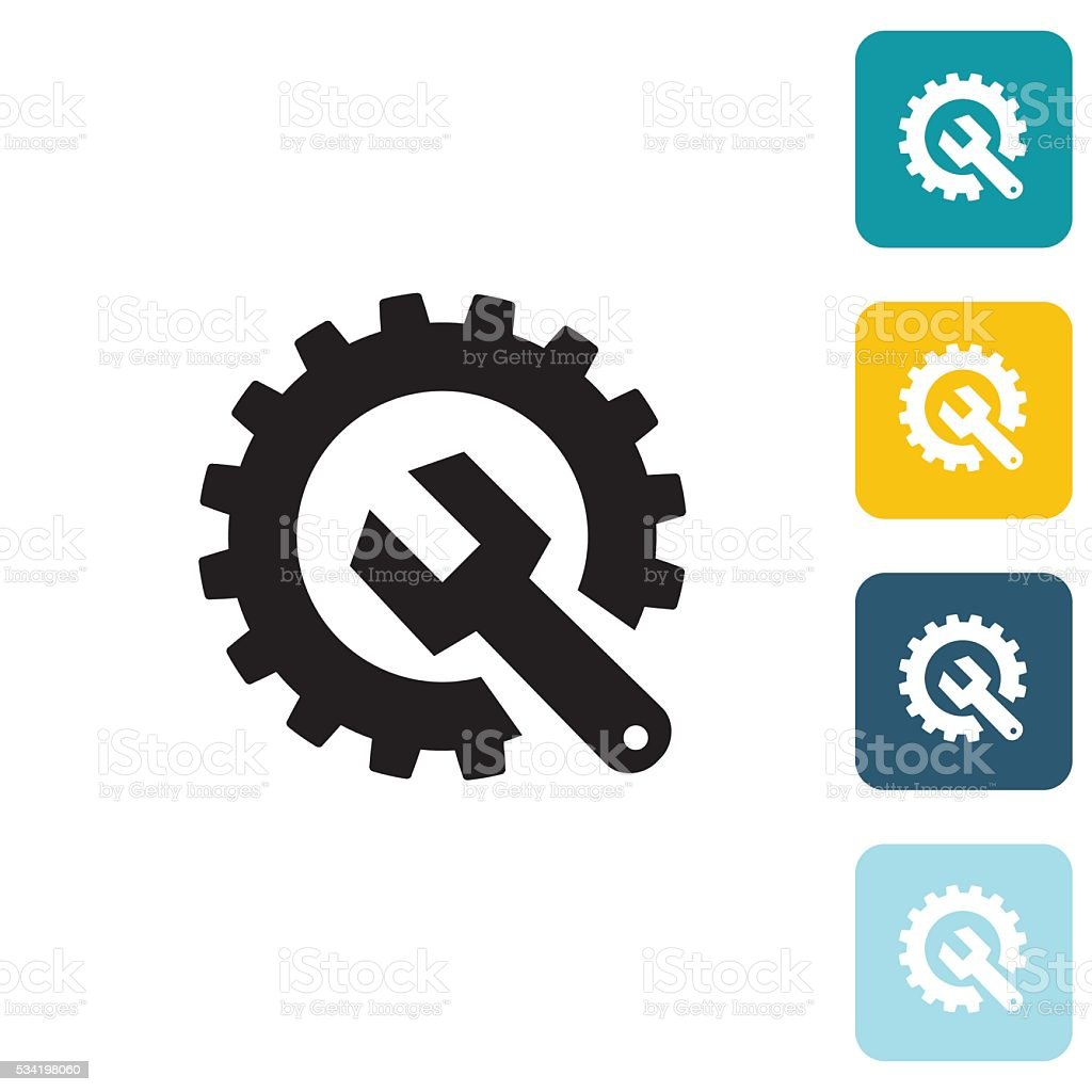 Flat Wedsite Icon - Technical Support vector art illustration