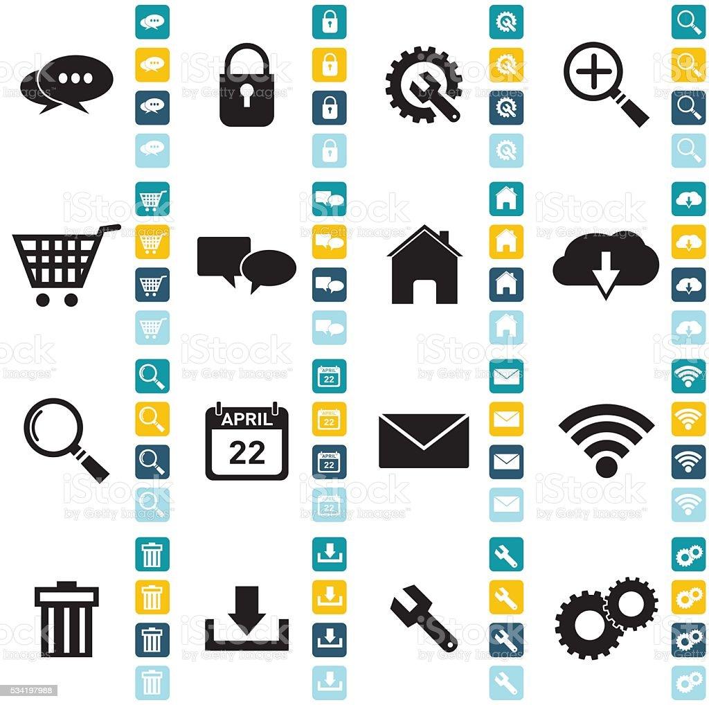 Flat Wedsite Icons - web navigation set vector art illustration