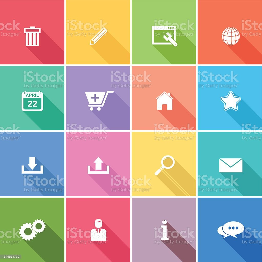 Flat Wedsite Icons - web navigation set vector art illustration