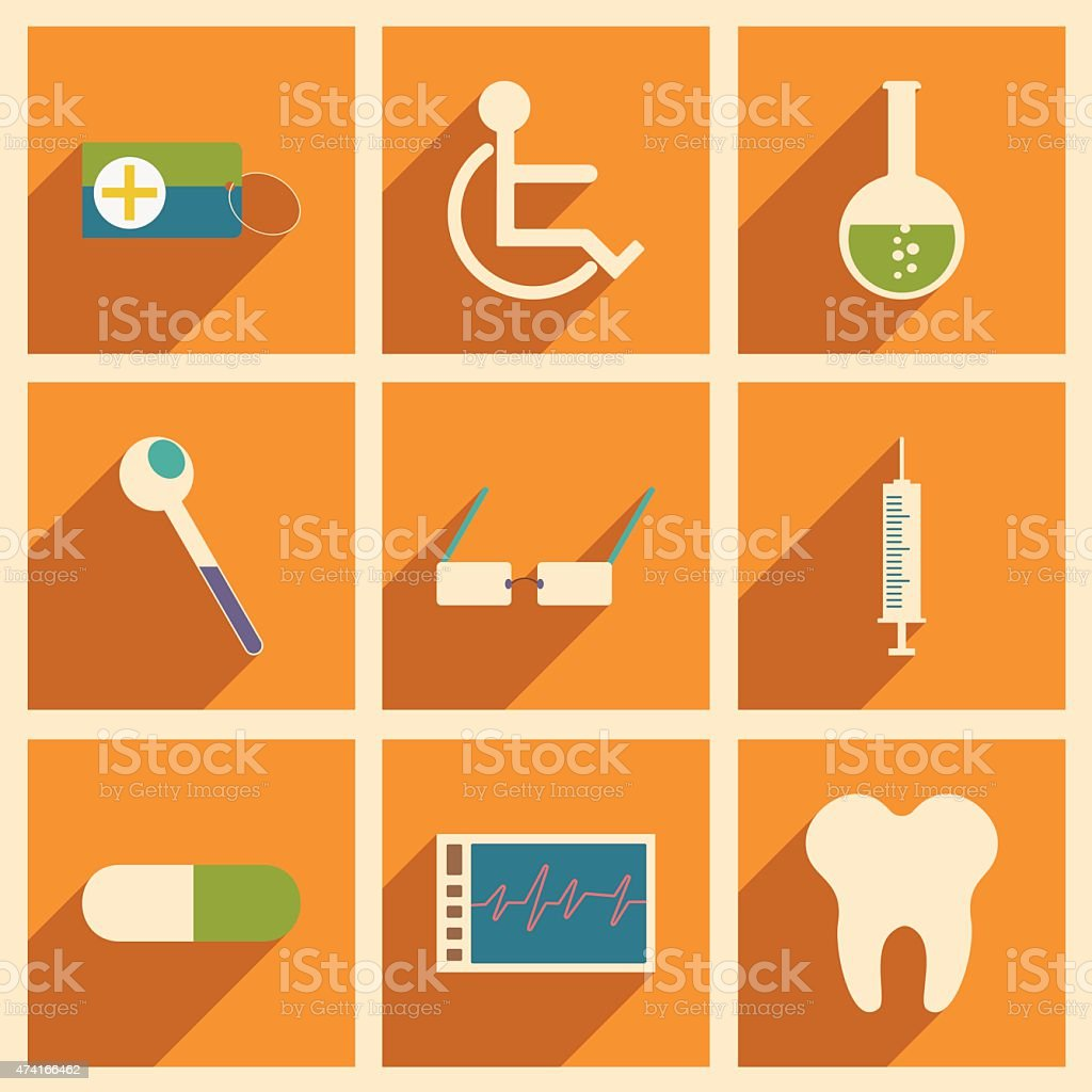Flat with shadow concept and mobile application medicine icons vector art illustration