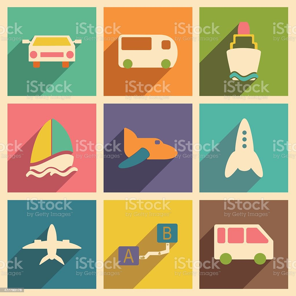 Flat with shadow concept and mobile application transports icons vector art illustration