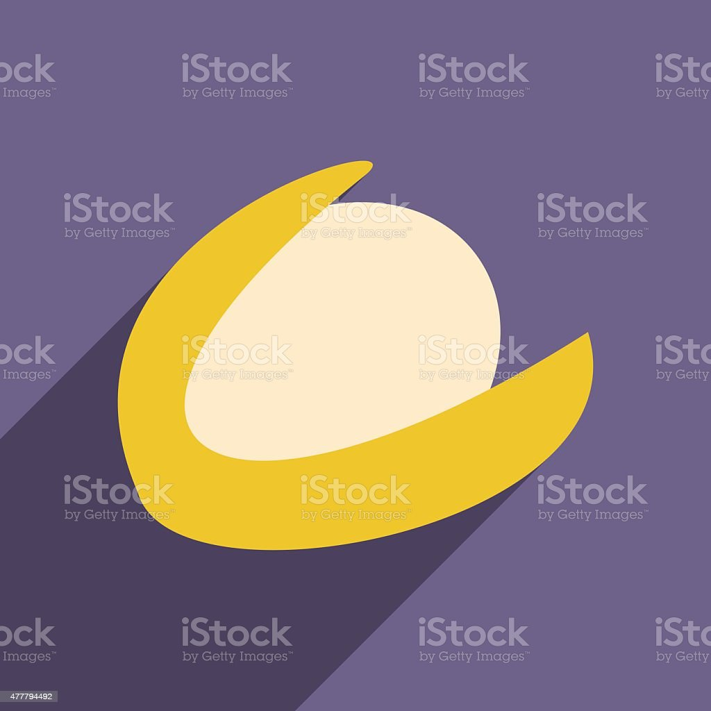 Flat with shadow icon and mobile application hazelnut vector art illustration