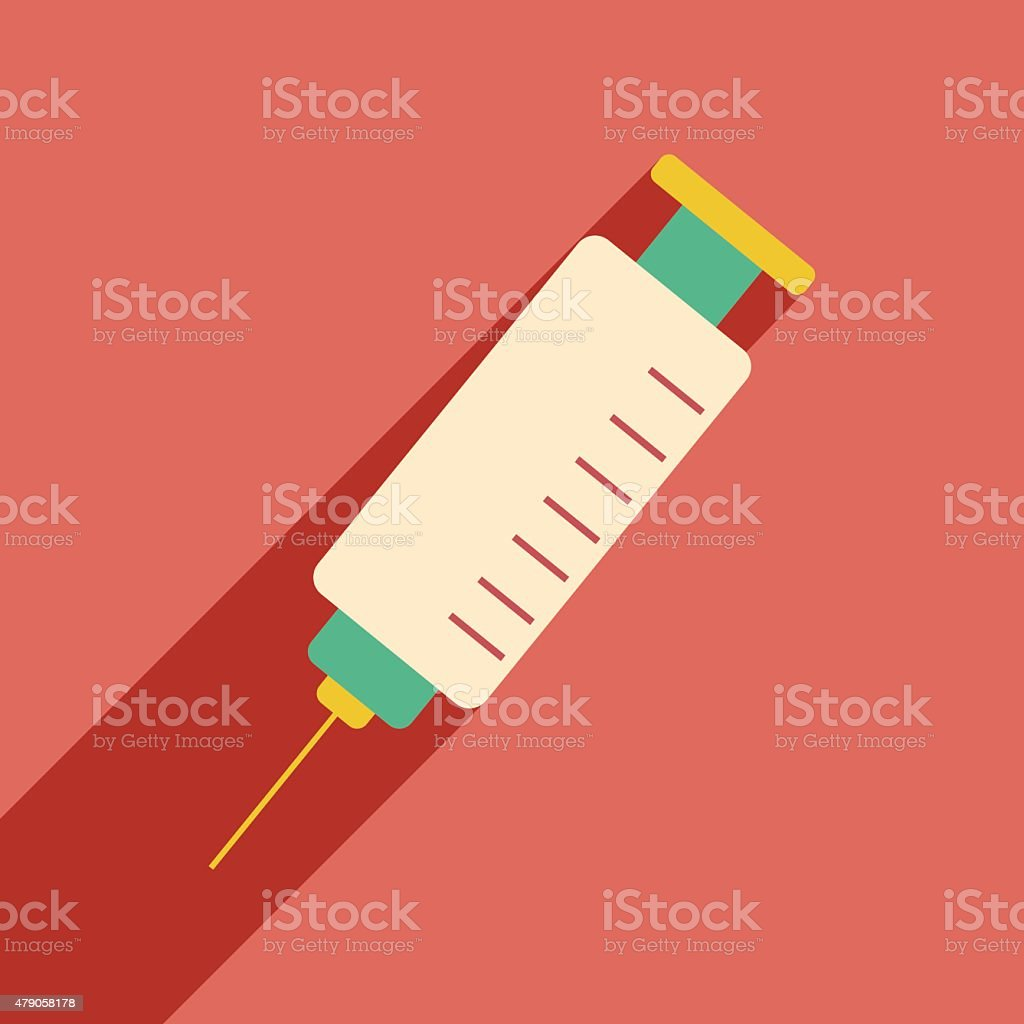 Flat with shadow icon and mobile application syringe vector art illustration